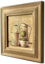 CVHOMEDECO. Rustic Vintage Hand Painted Wooden Frame Wall Hanging 3D Painting Landscape Art Décor, Plant, Pail and Jar Des...