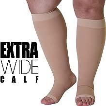 6XL Opaque Compression Socks Knee-Hi Closed Toe Graduated 20-30mmHg XXXXXX-L Beige