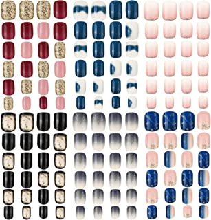 144 Pieces 6 Boxes Short Square False Nails Gradient Color Fake Nails Full Cover False Nails Press on Glossy Artificial Na...