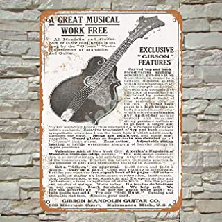 Henson 1911 Gibson Guitars and Mandolins Traditional Vintage Tin Sign Logo 12 * 8 Advertising Eye-Catching Wall Decoration