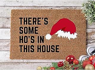 Christmas Doormats for Outdoor Entrance Home Cute Santa Snowflakes Welcome Decorative Doormat Blanket, Durable Anti Slip R...