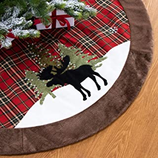 GMOEGEFT 48 Inches Farmhouse Christmas Tree Skirt, Red and Black Buffalo Plaid Edge, Black Reindeer in Snowfield Pattern, Xmas Tree Ornament Holiday Decoration