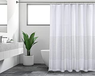 Sticky Toffee Woven Cotton Fabric Shower Curtain, 72 in x 72 in, White with Tan Thin Stripe