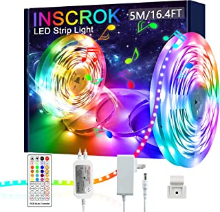 5M LED Light Strips, Inscrok LED Strip Lights, Color Changing LED Light Strip for Bedroom, Music Sync LED Lights for Room ...