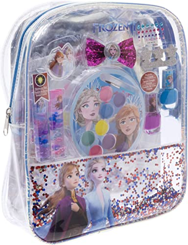 Townley Girl Disney Frozen 2 backpack Cosmetic Set, Includes: Lip Gloss Compact, Hair Bows, Nail Polish, Nail File, L...