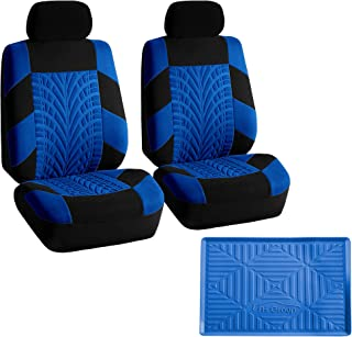 FH Group FB071102 Travel Master Seat Covers Pair Set Airbag Ready, Blue/Black w.FH3011 Silicone Anti-Slip Dash Mat - Fit Most Car, Truck, SUV, or Van