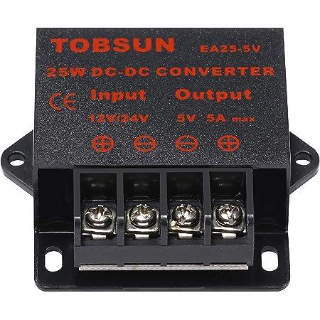 12V zu 5V Konverter 5A Spannungsversorgung Buck Modul DC-DC Step Down Volt Transformator Netzteil mit USB Port Schnellladung TeOhk 2Pcs 24V
