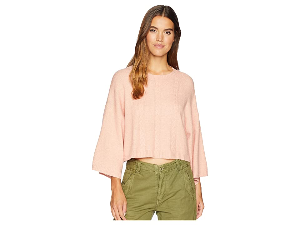 Jack by BB Dakota Extra Whip Cable Knit Mock Neck Sweater (Peach Beige) Women