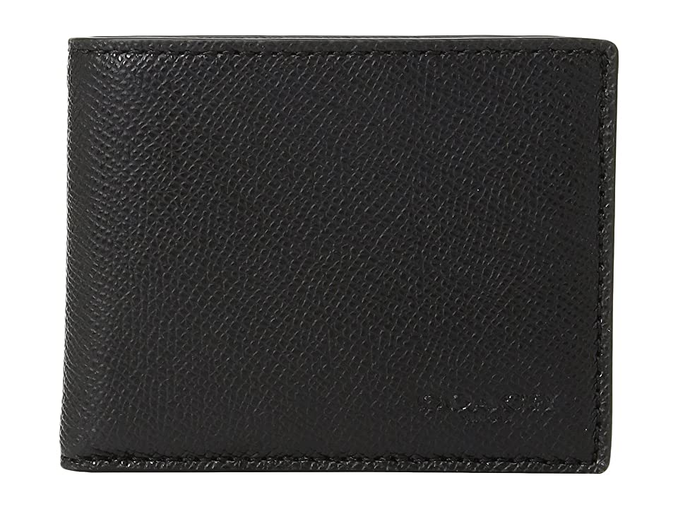 COACH Slim Billfold in Crossgrain (Black) Bags