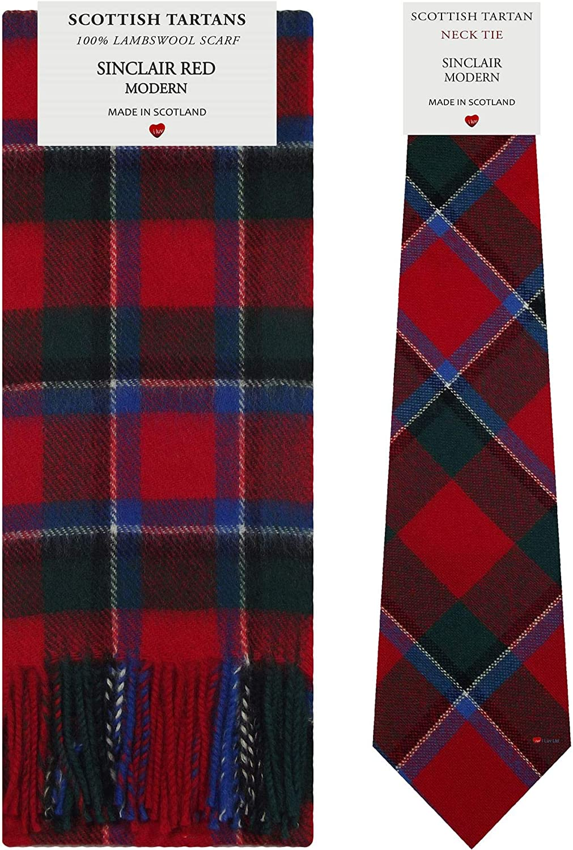 Sinclair Red Modern Tartan Plaid 100% Lambswool Scarf & Tie Gift Set