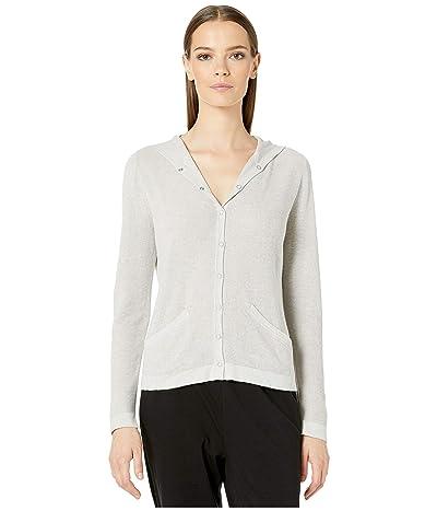Eileen Fisher Fine Organic Cotton Silk Hooded Cardigan (Pearl) Women