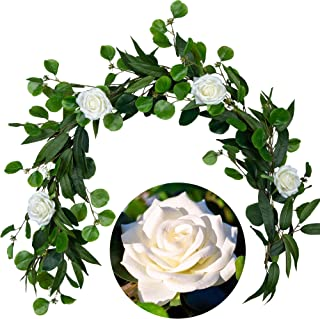 Premium Rose Garland by Cebliss-5ft Realistic Real Touch Artificial White Rose Flower Garland with Eucalyptus Greenary Leaves For Hanging Decor,Table Runner,Wedding Arch,Centerpieces,Reception