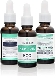 Neurogan Hemp Oil Supplement for Pain 500mg (1 Fl oz), Organic, Sleep Aid, Anti Anxiety and Inflammation, 3-Pack