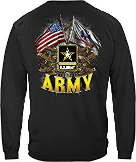 Erazor Bits Army | Army Double Flag US Army Black Long Sleeve Shirt MM2151LS