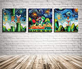 Artwcm Mario,Galaxy Game,van Gogh 3PCS Oil Paintings Modern Canvas Prints Artwork Printed on Canvas Wall Art for Home Office Decorations-85 (Unframed) (Unframed)