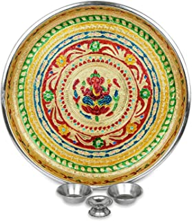 IndoTribe Large 4 Pc Meenakari Pooja Thali Pooja Thali Karva Chauth Set Diwali Decorations Diwali Gifts Indian Decor Decor...