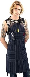 Under NY Sky Brown & Blue Stripe Denim Apron - Full Grain Leather Straps – No-Tie, Split-Leg, Adjustable for Men, Women – Pro Chef, Kitchen, Tattoo Artist, Barista, Bartender, Stylist, Server, Barber
