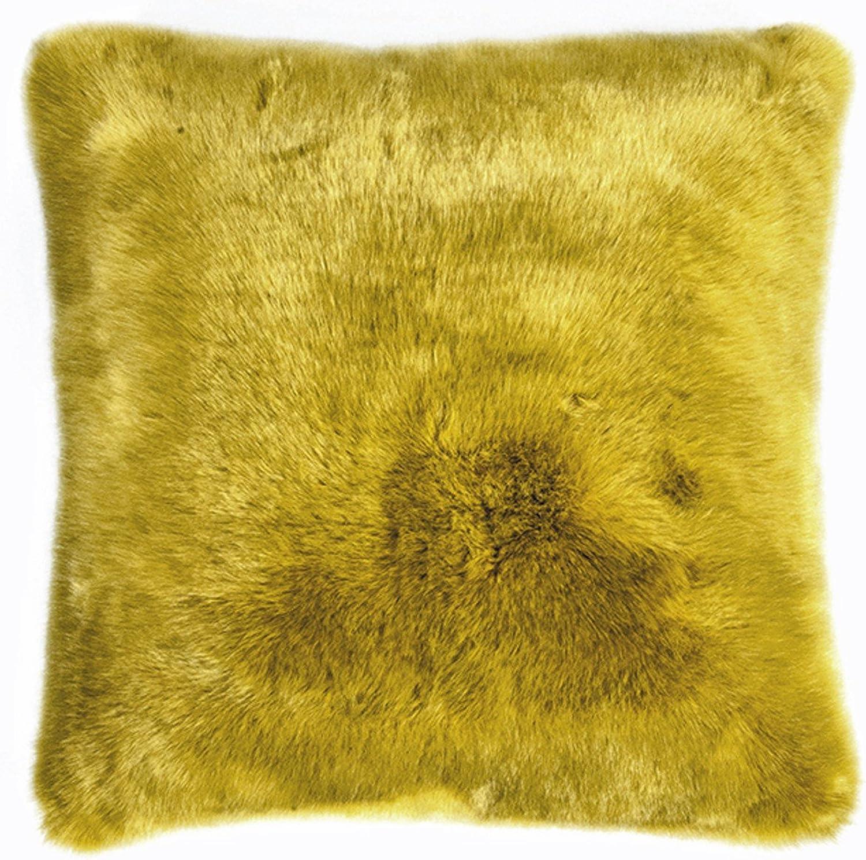 Pad - Kissenhülle - Kissenbezug - SHERIDAN - Kunstfell - mustard   gelb - 45 x 45 cm B015NRD1QE