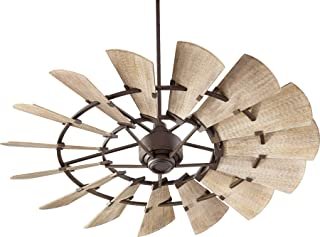 Quorum 96015-86 Indoor Windmill Ceiling Fan in Oiled Bronze with Weathered Oak Blades
