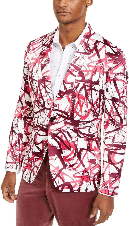 INC Mens Blazer Jacket Dark Pink Small Abstract Print 2 Button White S
