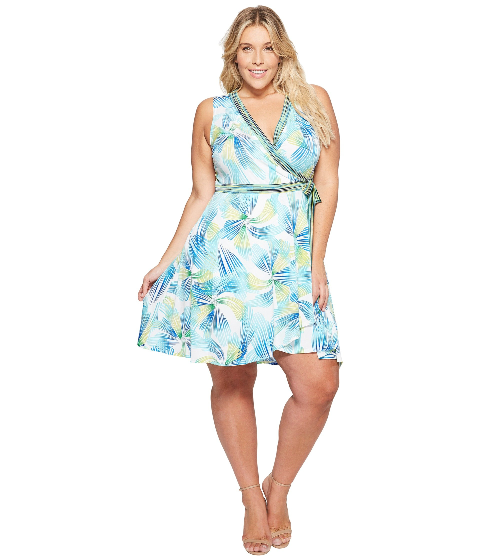 5a69eed3ecc7 London Times Plus Size Matte Jersey Fit   Flare Wrap Dress In Green Multi