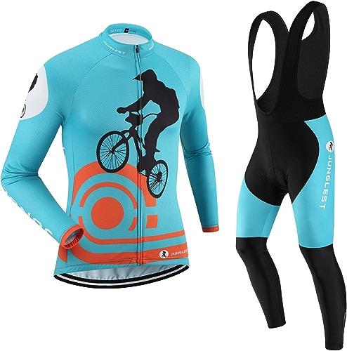 JNL Maillot de Cyclisme Homme Manches Longues Jersey(S5XL,Option Cuissard,3D Coussin) N110