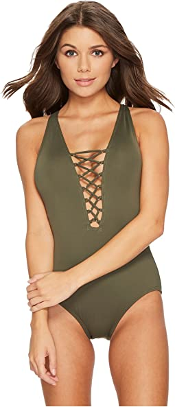 MICHAEL Michael Kors - Safari Solids Lace-Up Cross-Back One-Piece Swimsuit w/ Tummy Control & Removable Soft Cups