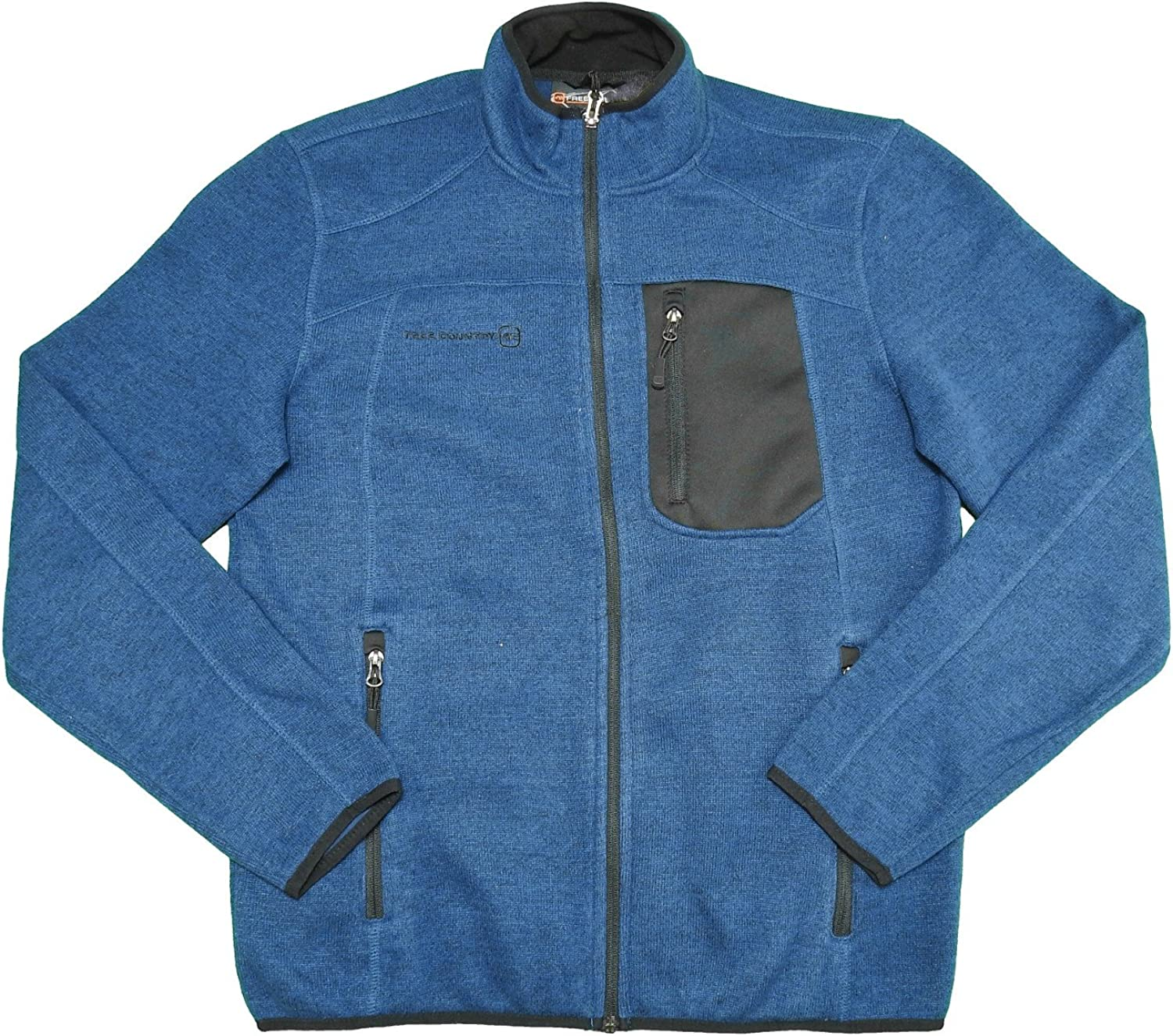 Free Country Mens Size Small Sweater Knit Fleece Jacket, Cold Blue