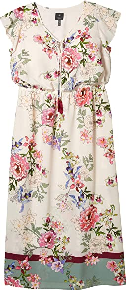 Plus Size Floral Border Print Maxi Dress