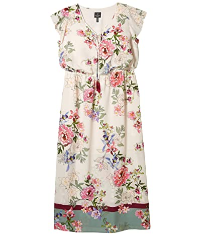 Adrianna Papell Plus Size Floral Border Print Maxi Dress (Ivory Multi) Women