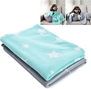 AmeriLuck Pet Towel Blankets, Ultra Soft & Warm Polar Fleece, for Dog Cat Sleeping, Bed Cover Mat Pad for Kittens Puppies, 2 Pack (Green/Grey)