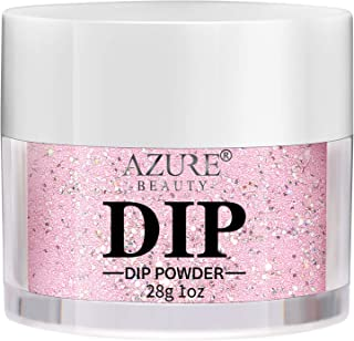 AZUREBEAUTY Dip Powder Pink Glitter Color(1oz) for French Nail Manicure Nail Art, Non-Tocix & Odor-Free, without UV LED Lamp Cured, Long lasting, Cruelty-Free