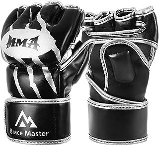Brace Master MMA Gloves UFC Gloves Boxing Gloves for Men Women Leather More Paddding Fingerless Punching Bag Gloves for Kickboxing, Sparring, Muay Thai and Heavy Bag