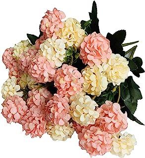 KIRIFLY Artificial Flowers,Fake Silk Mini Hydrangea Bulk Peony Flowers Wedding Decoration Bouquet Decor Plastic Flower Arr...