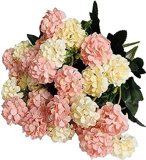 KIRIFLY Artificial Flowers,Fake Silk Mini Hydrangea Bulk Peony Flowers Wedding Decoration Bouquet Decor Plastic Flower Arrangements Table Centerpieces 3 Packs(Cream Pink)