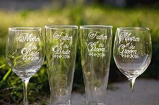 Script Font Mother of Bride Wine Glass, Mother of Groom Wine Glass, Father of Bride Beer Glass, Father of Groom Beer Glass - Set of 4 - Choose from Wine, Pilsner, Pint or Whisky Glasses