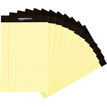 Amazon Basics Narrow Ruled 5 x 8-Inch Writing Pad - Canary (50 Sheet Paper Pads, 12 pack)