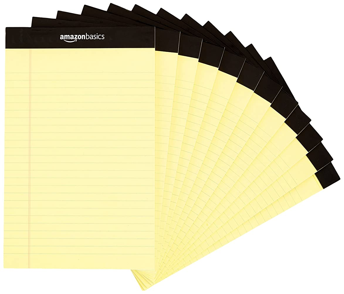 AmazonBasics Narrow Ruled 5 x 8-Inch Writing Pad - Canary (50 Sheet Paper Pads, 12 pack)