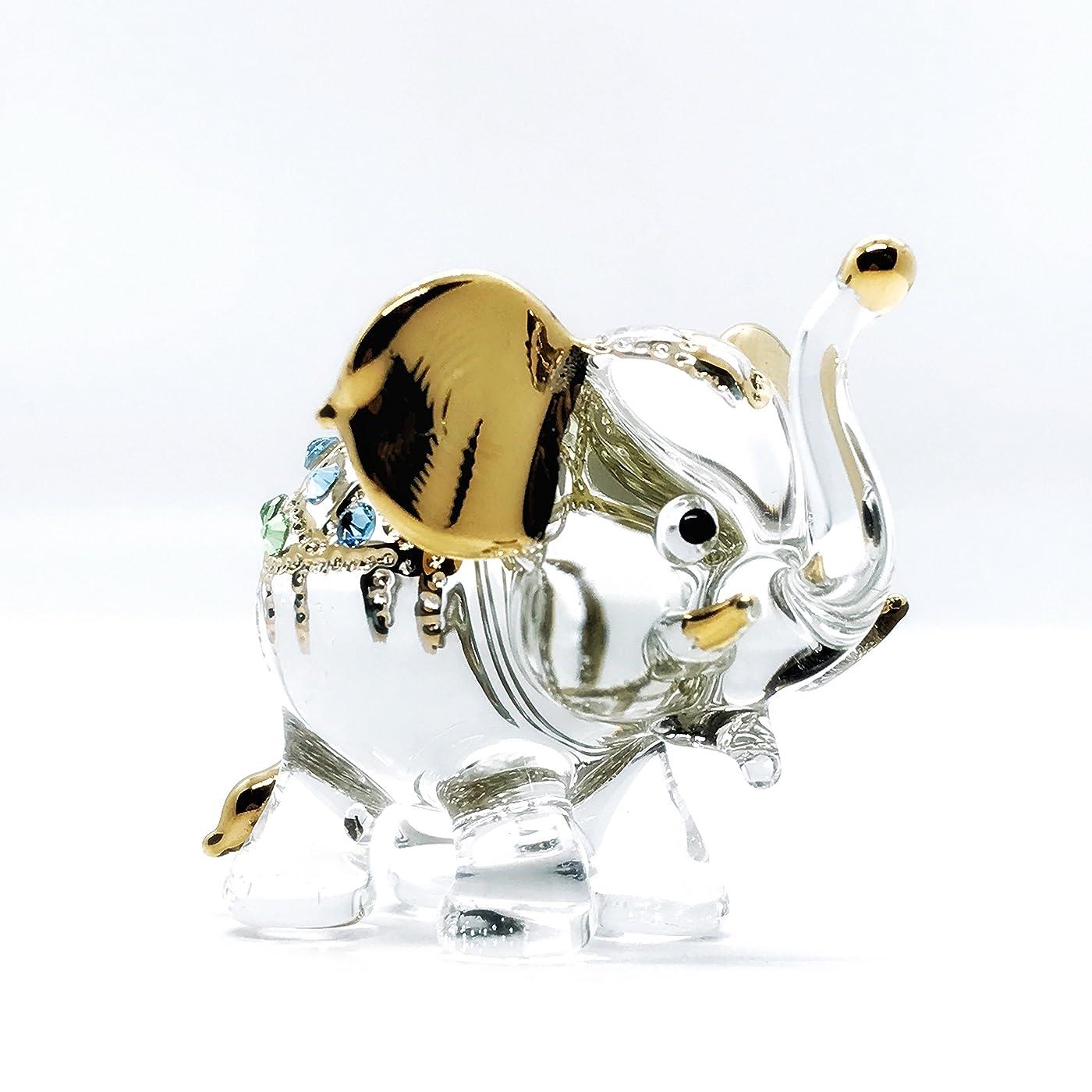 モーテル槍ゴミ箱を空にするLampwork Elephant Miniature Hand Blown Wild Animal Art Glass