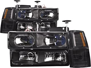 HEADLIGHTSDEPOT Black Housing with Halo with Xenons 8 Piece Set Halogen Headlights Compatible with Chevrolet GMC Blazer C1500 Suburban Tahoe Yukon 1990-2000 Includes Left and Right Side Headlamps