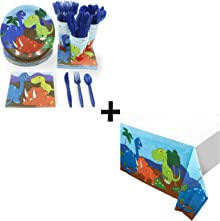 Dinosaur Party Bundle with Disposable Tableware and Tablecloths (147 Pieces)