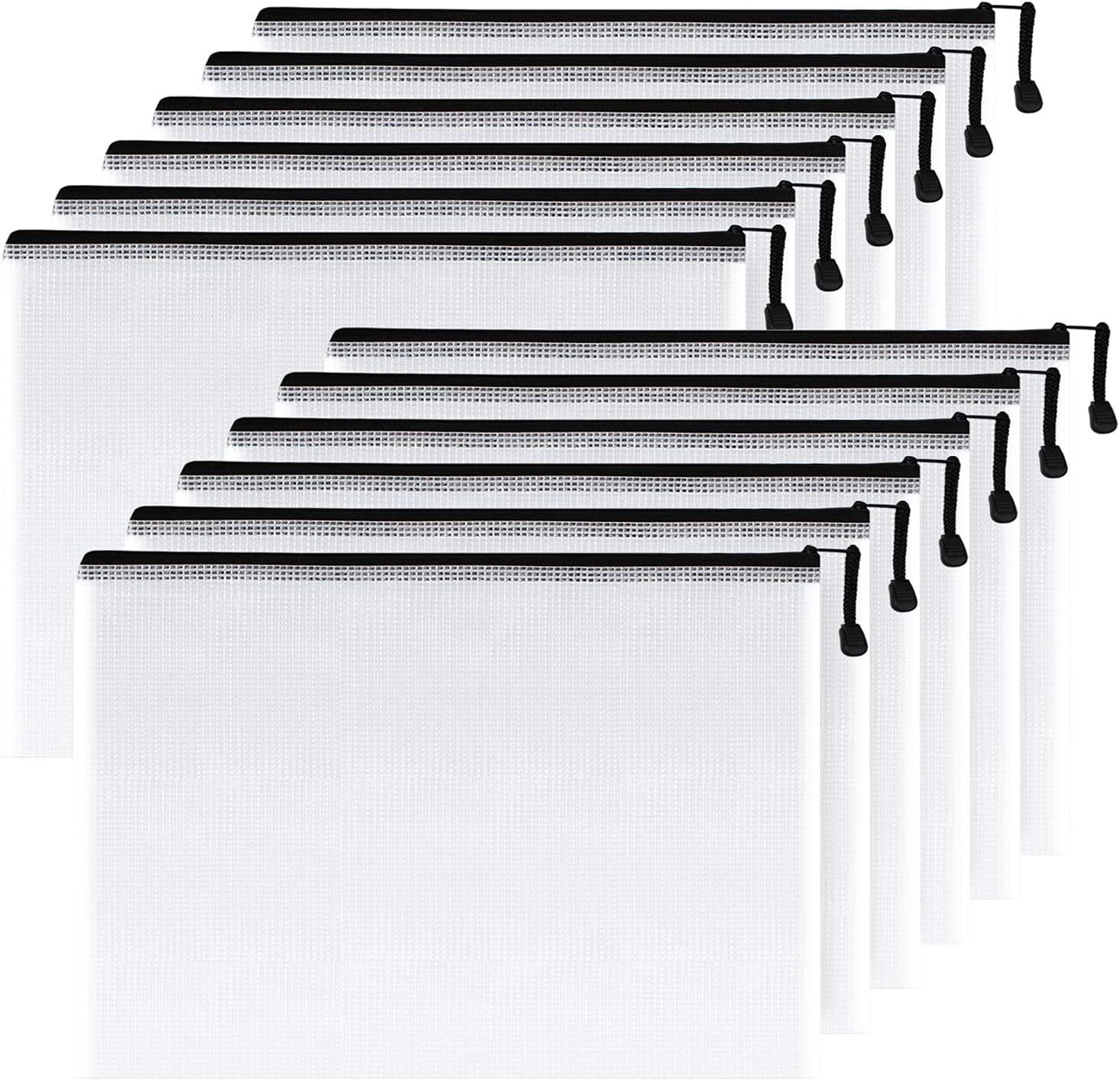 SUNEE Columbus Mall Plastic Mesh Zipper Pouch 11x16 Packs Cheap bargain Extra 12 in Black