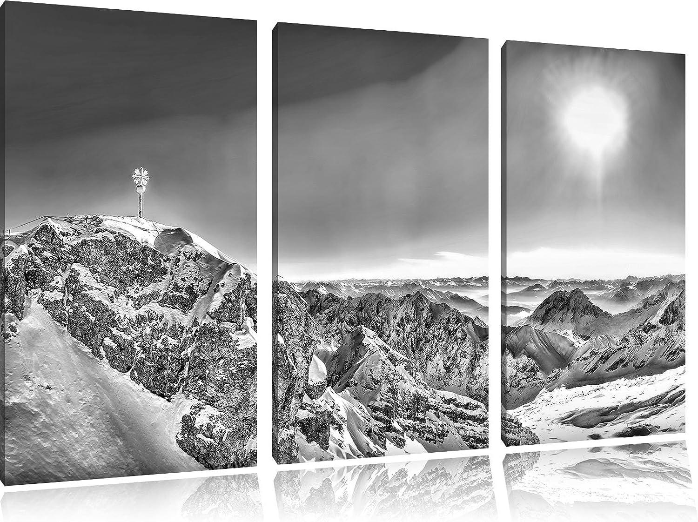 Monocrome, Zugspitze im Sonnenlicht 3-Teiler Leinwandbild 120x80 Bild auf Leinwand, XXL riesige Bilder fertig gerahmt mit Keilrahmen, Kunstdruck auf Wandbild mit Rahmen, gänstiger als Gemälde oder Ölbild, kein Poster oder Plakat B06XXG7NH6