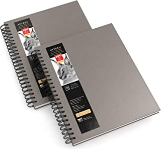 Arteza Sketch Book, 9x12-inch, Gray Drawing Pad, 100 Sheets, 68 lb 100 GSM, Hardcover Sketchbook, Spiral-Bound, Use with Pencils, Charcoal, Pens, Crayons & Other Dry Media
