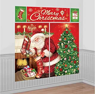 Amscan 670203 Merry Christmas Wall Vinyl Scene Setters Kit, 5 Ct. | Party Decoration