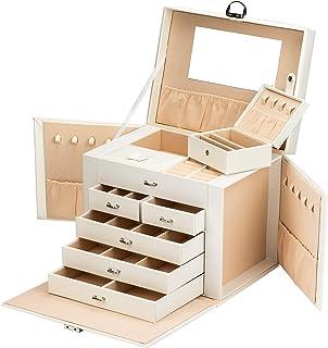 ADEL DREAM Grande boîte à bijoux verrouillable à 5 niveaux avec miroir pour bagues, boucles d'oreilles, colliers et bracelets
