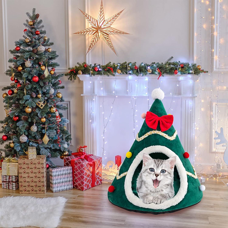 SMLJFO Árbol de Navidad Camas de casa de gato, tienda de campaña de gato, nido de cueva, saco de dormir cálido de invierno con cojín extraíble y fondo antideslizante para perros pequeños, verde y L