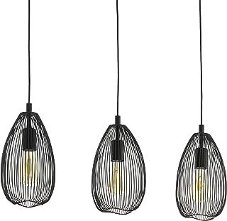 EGLO Clevedon - Lámpara de techo colgante, 3 focos, moderna, de acero, color negro, casquillo E27
