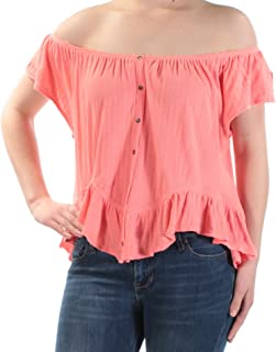 We The Free Womens Mint Julep Butterfly Sleeves Peplum Button-Down Top