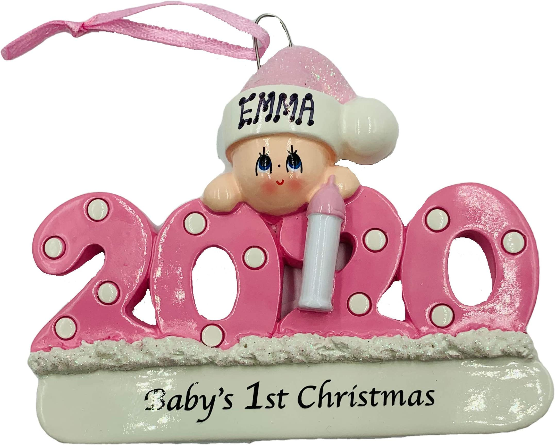 Baby/'s First Baby Boy Baby/'s 1st Gift Baby Girl Modern Personalized Name First Christmas Porcelain Ceramic Christmas Ornament Newborn
